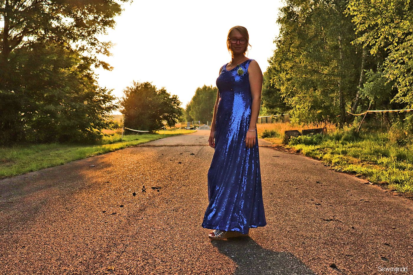 Butterick B6146 - Sequined gown stitched by Sewingridd