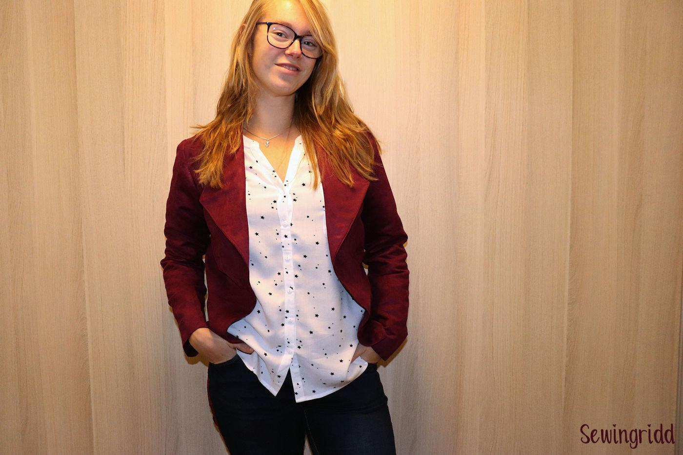 Purple suede jacket sewn by Sewingridd
