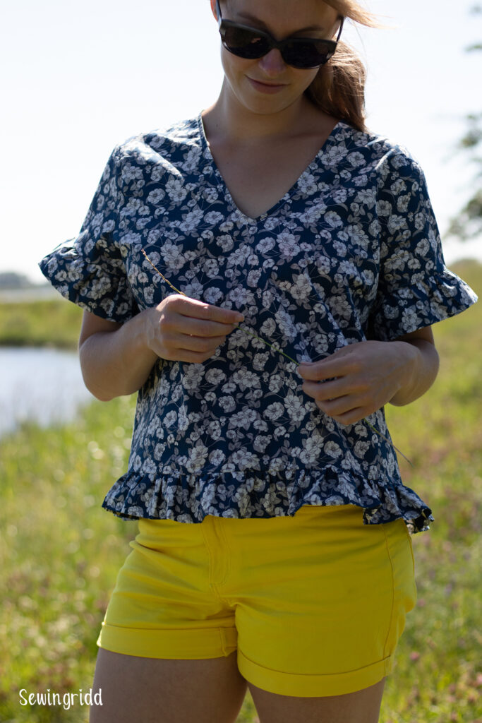 Cotton top with ruches sewn by Sewingridd