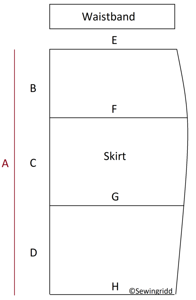 How to draw a skirt pattern to your own measurements. Drawing by Sewingridd