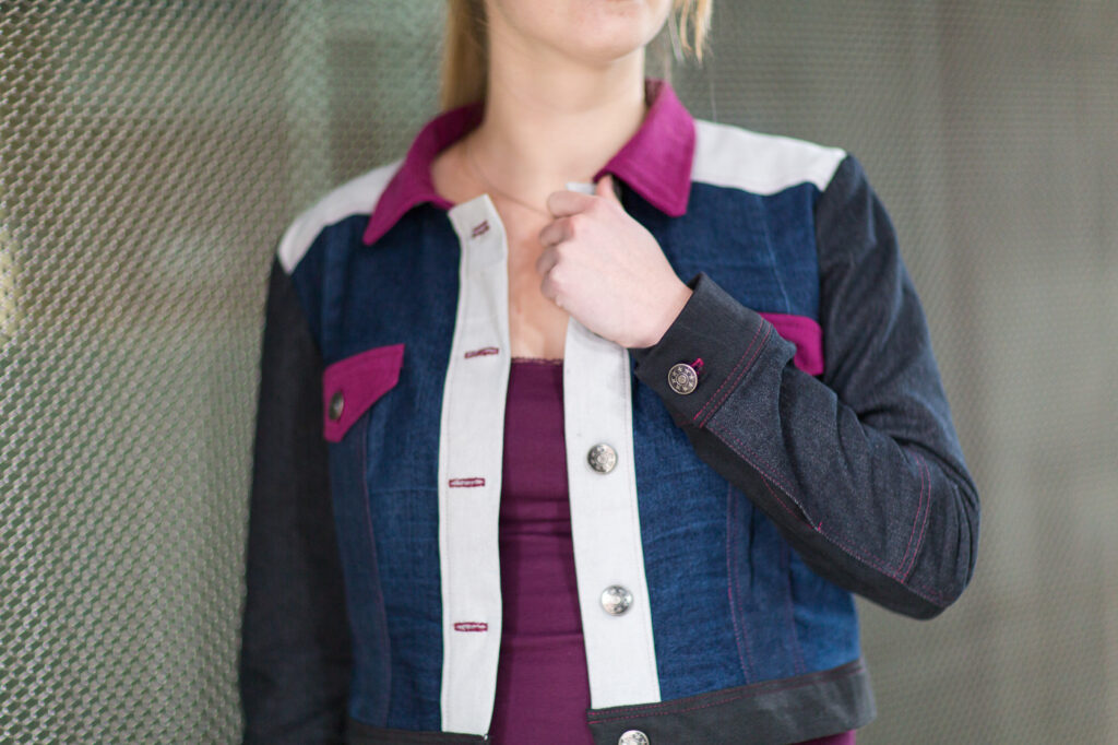 Refashioned recycled denim jacket by Sewingridd. Picture by Annelies Mol